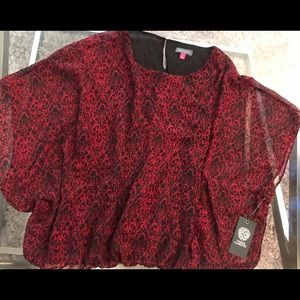 Vince Camuto Red & Black Blouse